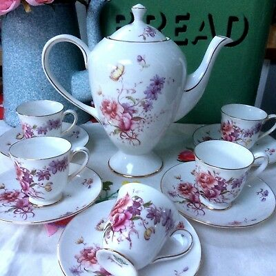 Pretty Pink Floral Tuscan China Coffee Set 'Fragrance' ~Coffee Pot Cups/Saucers