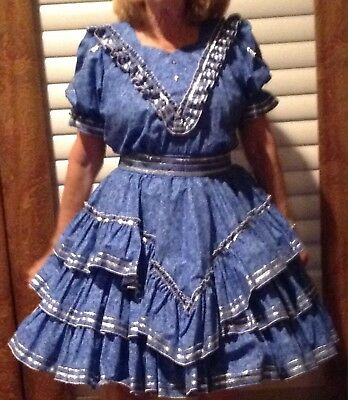 Dazzling  Blue & Silver Medium Square Dance Outfit By Rhythm Creations
