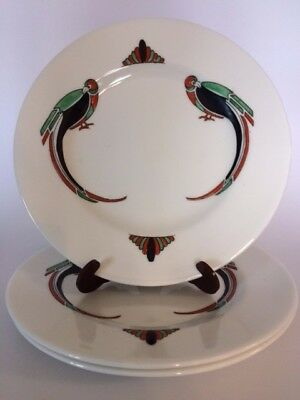 Crown Staffordshire Parrot Plates - set of 3