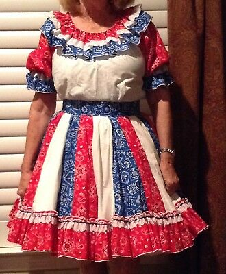 Cute Bandana  Fabric Square Dance Outfit By Rhythm Creations