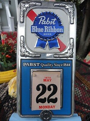 "1978 PABST BLUE RIBBON BEER Calendar Sign 18"" x 9.5"""