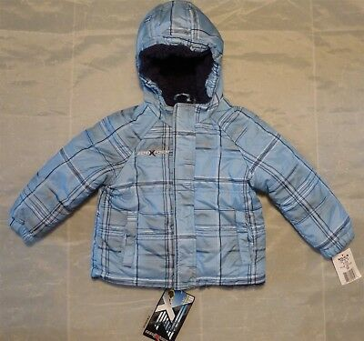 NWT ZeroXposur Baby Blue Plaid Winter Hooded Puffer Jacket 24 mo Berber Lined