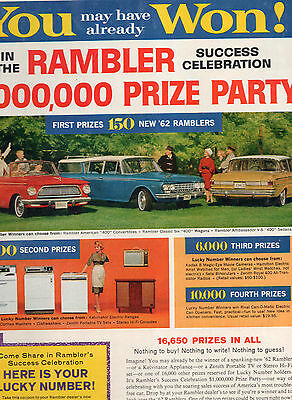 1962 Rambler Contest Car Full Page Magazine Ad-In Plastic Sleeve-Vintage