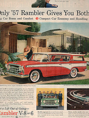 1957 Rambler Car Full Page Magazine Ad-In Plastic Sleeve-Vintage