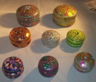 Lot(8)Faux Cloisonne Rhinestone Stash/pill/trinket Gift Boxes Free Shipping