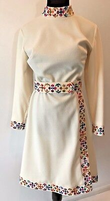 Vintage 1960s Montgomery Ward Ivory Colorful Embroidered Dress size L XL 18 DS11