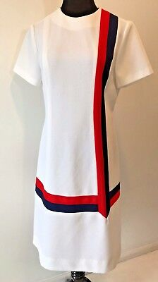 Vintage 1960s Montgomery Ward White Navy Blue and Red Mod Dress size L XL DS16