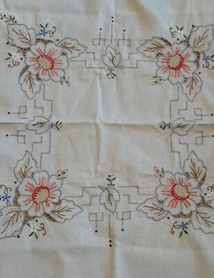VINTAGE MADIERA SUPPER CLOTH / TOPPER colourful floral embroidery threadwork