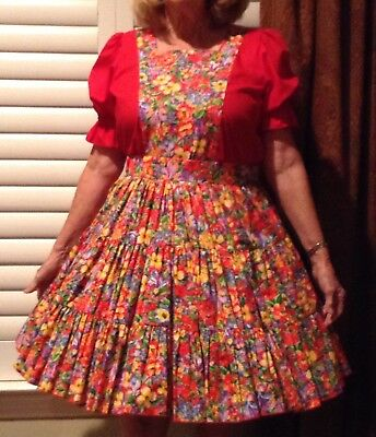 Pretty Flowers Medium Sized Square Dance Outfit By Rhythm Creations