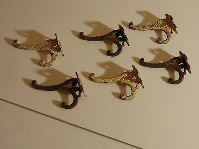 Vintage Antique Set of 6 Ornate Cast Iron Wall Coat Hat Hooks Shabby Chic