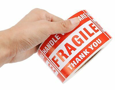 1 x 500/Roll Large Fragile Sticker 3x5 Handle With Care Thank You Shipping Label