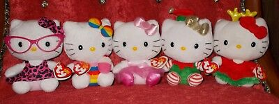TY Beanie Babies Collection LOT 5  Hello Kitty Originals Santa Hat Christmas Bow