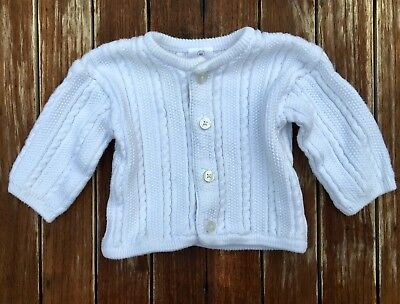 HANNA ANDERSSON Girls Boys White Organic Cable Knit Cardigan Sweater 60 3-6 mon
