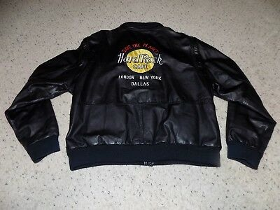 Cool Adult L Hard Rock Cafe Save the Planet London New York Black Leather Jacket