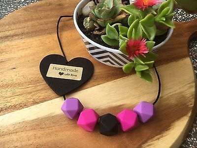 Silicone Sensory (was teething) Necklace for Mum Jewellery Aus Sell Purp Pink