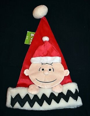 Charlie Brown Christmas Peanuts Hat Santa Claus Fuzzy Character Cap New With Tag