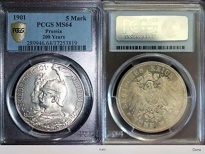 """GERMANY EMPIRE, PRUSSIA """"200 YEARS REIGN"""" SILVER 1901  5 Mark  PCGS  MS64"""