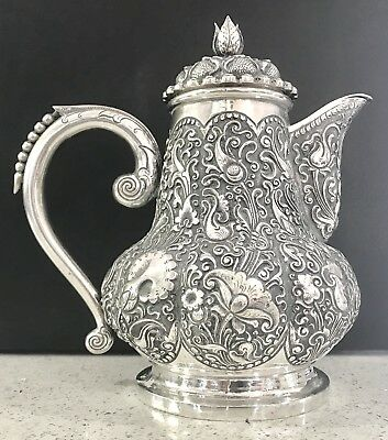 Rare Yogya Indonesian  Continental Solid Silver Coffee Pot , Hallmarked