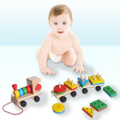 Educational Kid Baby Wooden Solid Wood Stacking Train Toddler Block Toy Gift BS