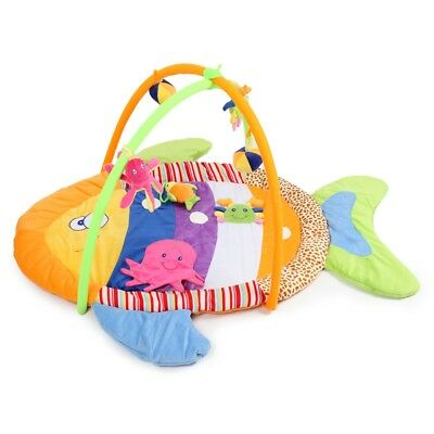Baby Soft Play Mat Fish Gym Blanket with Frame Rattle Crawling Educational Toy