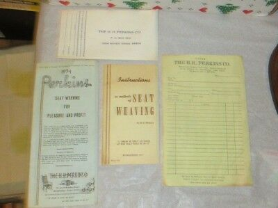 VINTAGE LOT x 4 H.H. PERKINS CHAIR SEAT WEAVING INSTRUCTIONS FURNITURE CANING