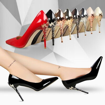 Women Sexy High Heels Pointed Toe Stiletto Party Metal Decor Pumps Wedding Shoes