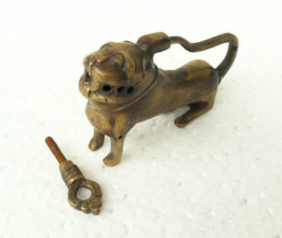 Old Antique Fine Brass Handcrafted LION Shape Screw System Pad Lock, Collectible