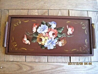 """Hand Painted FLOWERS 22"""" Long & Narrow Wood Floral Tole Tray w/ wooden handles"""