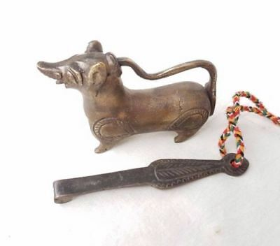 Old Antique Brass Handcrafted Dog Shape Pad Lock With Long Key , Collectible