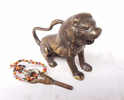 Old Antique Brass Handcrafted LION Shape Screw System Pad Lock / Paper Weight