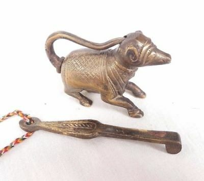 Old Antique Brass Handcrafted Animal Shape Pad Lock With Long Key , Collectible