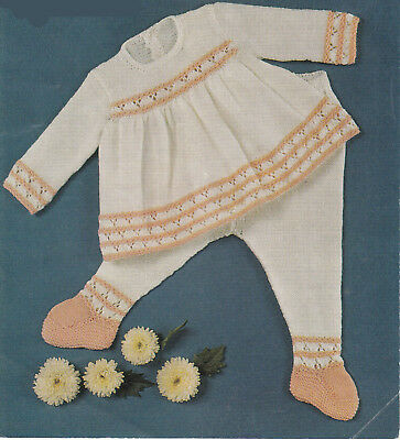 74f63bfee00f LOVELY 4 PLY Baby Girls Knitted Dress- Knitting Pattern- Fits 18-20 ...