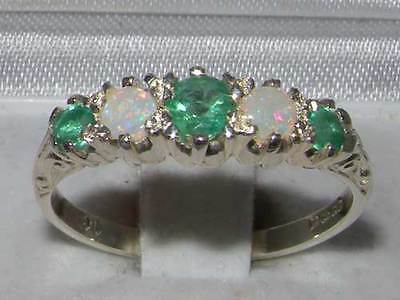 Antique 925 Sterling Silver Natural Emerald & Opal Ring with English Hallmarks