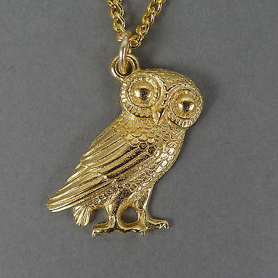 22kt GP Greek Owl of Athena Pendant with Chain