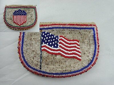 Old Antique Beaded American Flag Zippered Coin Purse Double Sided