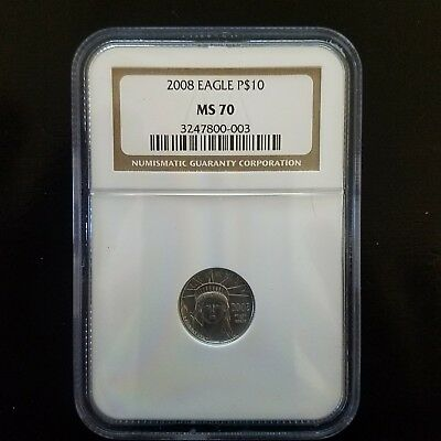 2008 $10 1/10 Ounce Platinum Eagle - NGC MS70!!