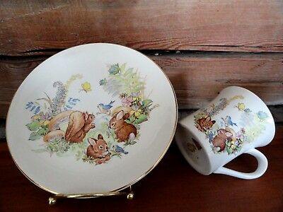 2 pc. Childs Dish Set Old Foley James Kent England Plate and Cup Bunnies Rabbits