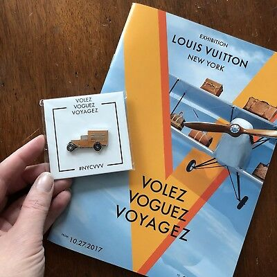 2017 Louis Vuitton Exhibition NYC Volez Voguez Voyagez Program & Truck Pin Lot