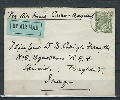 843 uk gb special Airmail cover to Iraq Airforce RAF military cairo baghdad