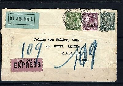 #32  uk gb special Airmail Express to France  perfin commerical early airpost