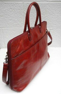 Wilsons Leather (Italian Leather) Burgundy Briefcase Multi-Compartment / Laptop