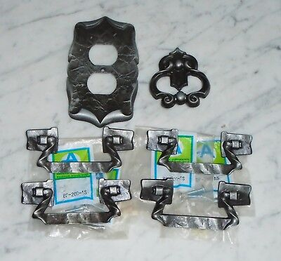 Amerock Black Silver Carriage House Cabinet Drawer Pull Handles & Plate Cover