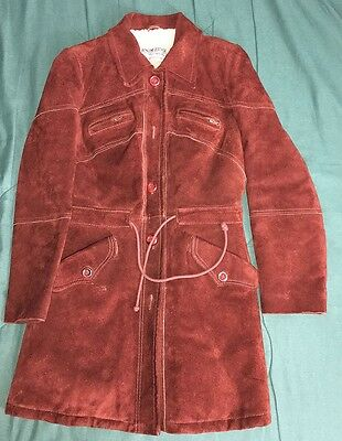 Vintage 70s LEATHER SHEARLING URUGUAY SUEDE WOMENS Wool HEAVY COAT JACKET 11 12