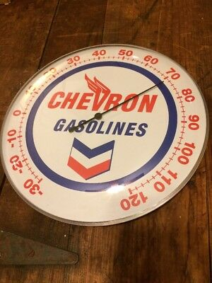 Chevron Oil Can Thermometer Gas Pump Station Sign Lubester Gulf Chevy Dodge Ford
