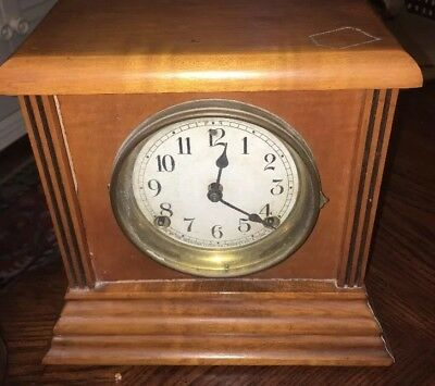 Antique Sessions Solid Wood Mantle Clock 10 High 11 Base 6 Width Runs Well