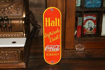 COCA COLA  PORCELAIN GERMAN DOOR PUSH - 1930's  EXCELLENT CONDITION