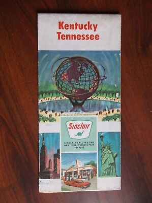 Sinclair Gasoline Gas Oil Advertising Kentucky Tennessee Road Map Vintage 1964