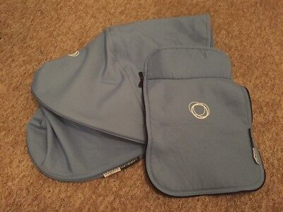 Bugaboo Cameleon 3 Ice Blue Fabric Set Extendable Sun Canopy Hood Fabric +Apron