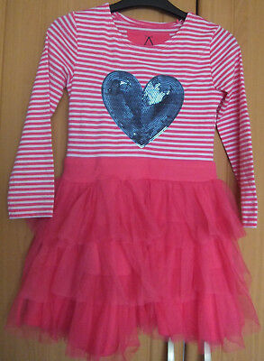 NEW BNWT Age 7 Pink / White striped tutu style sequinned heart dress excellent