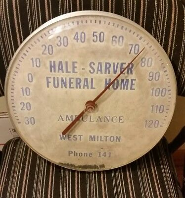 OHIO FUNERAL HOME round metal domed advertising thermometer antique sign hearse